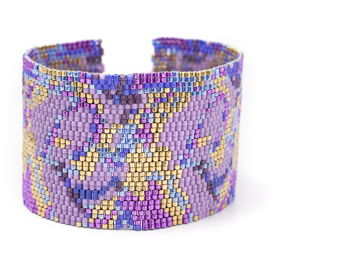 Purple Abstract Flower Cuff